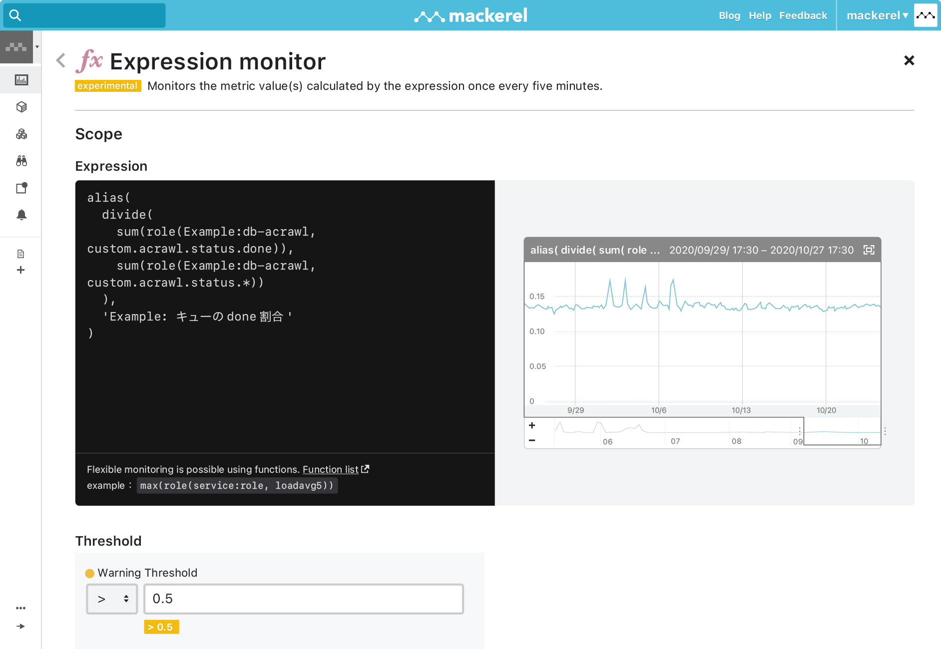 Monitor metrics calculated by expressions